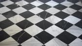 nobre : Black and white European marble stone checker pattern floor interior 4K Stock Footage