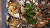 picante : Raw pickle blue crab spicy sauce Thai seafood plate Stock Footage