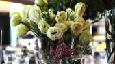 dining table : Flowers Arrangement for special party in restaurant video 4k