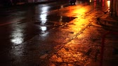 asfalt : Bad old cracked wet road condition with car traffic light video 4k