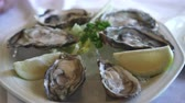 aperitivo : Eating Fresh South Africa Oyster with lemon platter Stock Footage