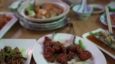 тофу : Chinese Round Table Meal In Restaurant Many Dishes