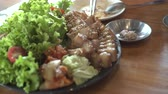 dining table : Korean Bossam Steamed Pork Belly Ribs And Side Dishes Serve In Restuarant