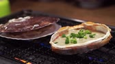 vieira : Japanese Kani Miso In Crab Shell And Scallop On Grill In Restaurant