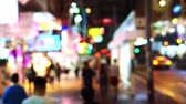 humano : Hong Kong Shopping Street Bright Neon Signs Blur Evening Video Archivo de Video