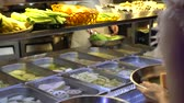 quibe : soup food stall variety ingredient picking Stock Footage