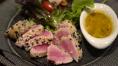 sashimi : Seared tuna salad with balsemic sauce on side healthy ketogenic diet food