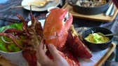 parný : Hand size with lobster claw photo before eating Dostupné videozáznamy