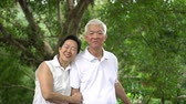 pensionato : Asian senior couple smiling happy green tree background Filmati Stock