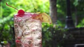 Summer soda cocktail with lemon and cherry refreshment Stok Video