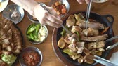Traditional Korean cusine food eating from top view
