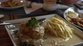 German cuisine meat with gravy and schnitzel food