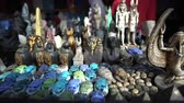 Egyptian souvenir stone craft to pharaoh sphinx pyramid scarab statues selling for tourist in Egypt