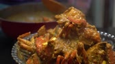 Cooking Singapore iconic dish Chilli crab yummy seafood of South East Asia