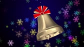 bell : Golden Christmas bell with red ribbons Stock Footage