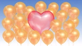 Pink balloon in the shape of a heart surrounded by golden balloons on a blue sky background. Seamless looping