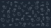 suaygırı : Animated doodle animals, kid dark background. Substrate for titles, and other content. Design element Stok Video