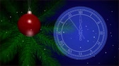 New Years toy on a Christmas tree. Vintage clock. Last 10 seconds to 12 oclock. HD stock footage