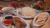 cucumber soup : Tilt shot of Hainanese Chicken rice dishes