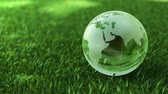 europe : Ecology environment concept, glass globe in the green grass