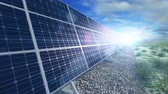 solar energy power : Grow up building solar panel generating energy close Stock Footage