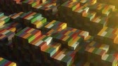 izometrik : Stack of containers in a harbor, shipping at dockyard, logistic import and export, sunset light, seamless infinite loop, isometric view