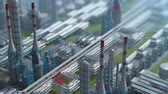 izometrik : Oil and gas refinery plant factory, clear isometric view, defocus shot, industry petroleum zone, pipe steel and oil storage tank. Aerial drone fly over plant shot. 3D generated image. Background plan.