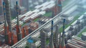 izometrik : Oil and gas refinery plant factory, isometric view, orange defocus plan, industry petroleum zone, pipe steel and oil storage tank. Aerial drone fly over plant shot. 3D generated image. Background plan Stok Video