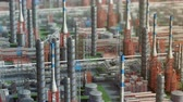 izometrik : Oil and gas refinery plant factory, orbit view, red orange defocus plan, industry petroleum zone, pipe steel and oil storage tank. Aerial drone fly over plant shot. 3D generated image. Background plan