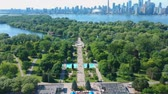 View of Toronto Centre Island during sunset at summer. Aerial bird eye view.