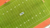 Aerial view of football field in Canada. Bird eye view of sports field. Soccer Football field top down view