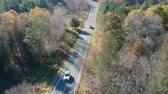 Top view of the asphalt road and passing cars in the forest. American fall season nature at very bright sunny day.
