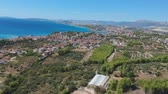 hırvat : Aerial panoramic view of European village near Split. Green mountains locals farms and vegetation growing. Travel destination in Croatia.