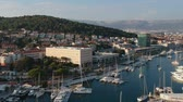 croata : Aerial bird view at famous European travel destination, Split cityscape on Adriatic coast and bay with boats, in Croatia.