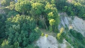 falésias : Aerial view and flying over forest cliffs bluffs during summer near city. America.