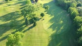 dusk forest : Aerial landscape flight over green golf course and golf scooter.