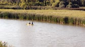 recreativo : Two man in the Canoe is kayaking  in the lake at hot summer day. Recreational sport concept. Stock Footage