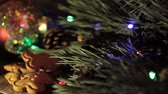 piscando : Family eating a gingerbread man cookies. Flashing lights on the background of a Christmas tree. Friends celebrating the New Year, Christmas, homemade cakes, cozy home concept