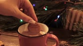 lentejoula : Winter holidays with latte and cookies. Close up of unrecognizable woman dipping delicious gingerbread cake into warm cup of coffee with milk on Christmassy pine and illuminate fairy lights background