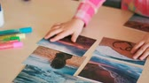 cartão postal : travel photo little child hands dreams concept. journey memories. sea trip.