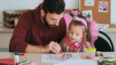 parente : drawing education father daughter art concept. creative painting process. happy childhood. Stock Footage