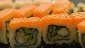 rodar : salmon sushi closeup. asian cuisine. traditional meal recipe. diet healthy food Stock Footage