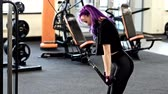 尻 : Gym workout. Stylish fit woman with bright hair doing triceps exercise 動画素材