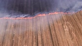 above fire : Uncontrolled rural fire. Burning plant field. Smoke. Countryside landscape.