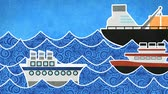bez szwu : ships in the sea loopable animation Wideo