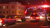 intersection : night city traffic on crossroad with festive illumination timelapse
