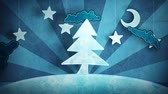 decor : cardboard blue christmas tree loop 5.01 - 15.00. luma matte for first and last 4 seconds
