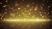 futuristic : flying gold particles and reflection. computer generated seamless loop abstract motion background