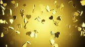 wedding : camera flying around gold heart shapes. seamless loop 3D animation. 4k (4096x2304)