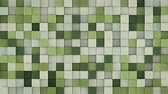 haki : Wall of gentle green extruded cubes mosaic. Geometric 3D render animation. Computer generated seamless loop abstract background 4k UHD (3840x2160) Stok Video